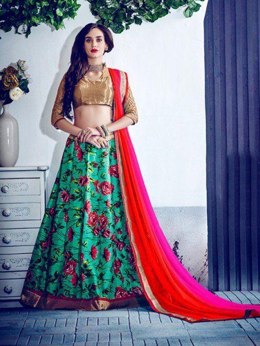 Green Bangalore Silk Printed Lehenga Choli