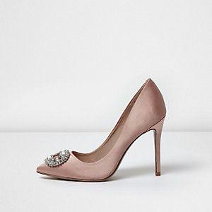 Light pink satin embellished court shoes
