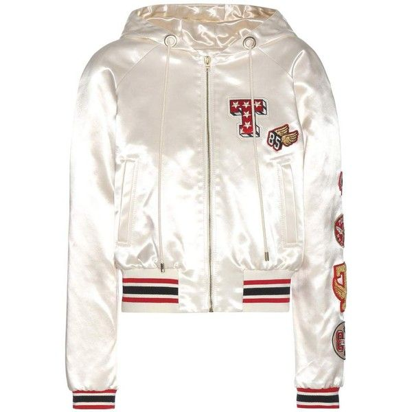 Tommy Hilfiger Satin Bomber Jacket With Appliqué found on Polyvore featuring outerwear, jackets, bomber jacket, tops, coats, white, satin jackets, flight jacket, satin bomber jackets and bomber jackets