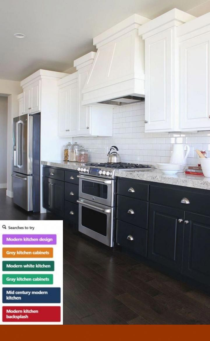kitchen cabinets gray bottom white top #cabinets and