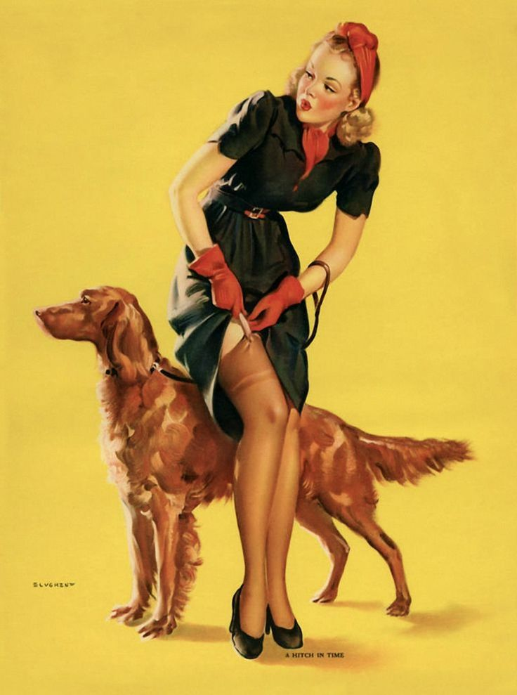 Gil Elvgren - A Hitch in Time 1940 Dow http://www.zazzle.com.br/planetpinups/products/cg-196746751267077918: