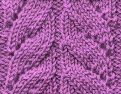 Right and Left Cross Mock Cable Knitting Stitch with Yarn Overs