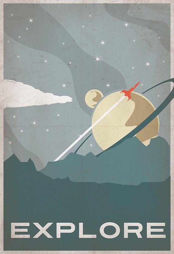 Retro Sci-fi Explore Poster 13x19 Print от IndelibleInkWorkshop