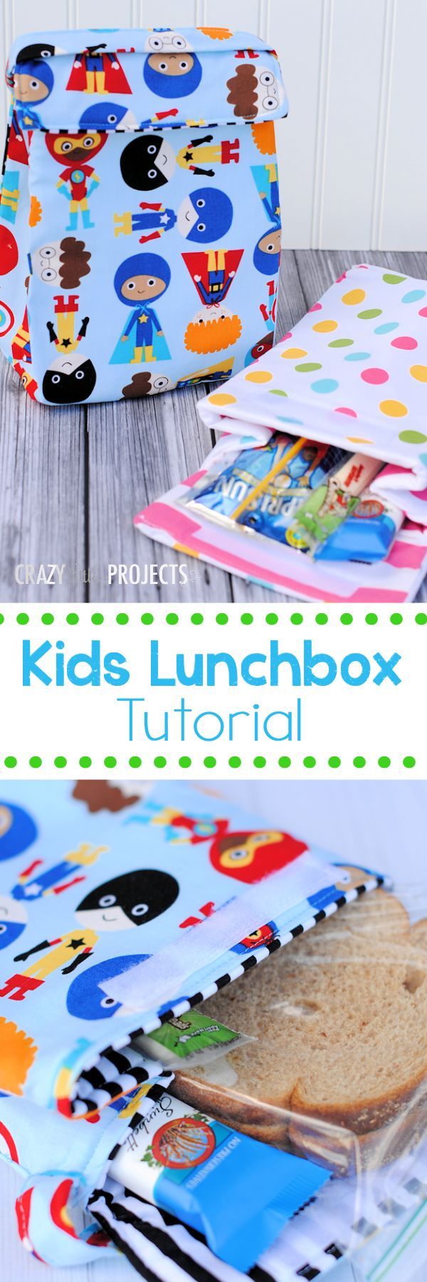 Use this kids insulated lunch box pattern and tutorial to make a darling little lunch bag for school or preschool.
