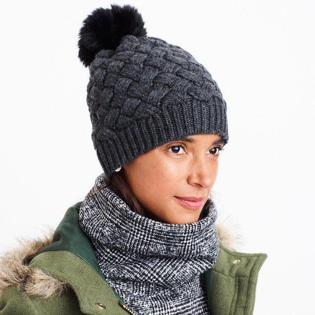9f2106f0ef5 Faux-fur pom pom hat   FactoryWomen Gloves   Mittens