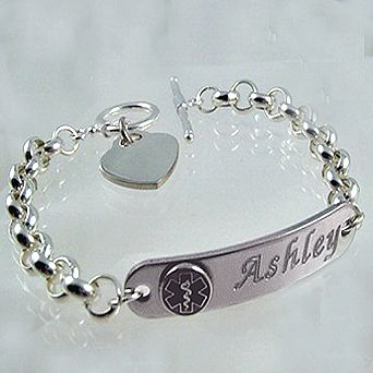 Medical Alert Bracelets - Silver Plated Ladies Rolo Link & Toggle Medical ID Bracelet