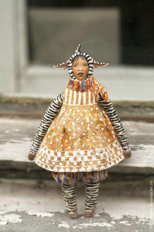 Купить Ватная игрушка на ёлку Зебра - ёлочные игрушки, новогодний подарок, украшение на ёлку, винтаж