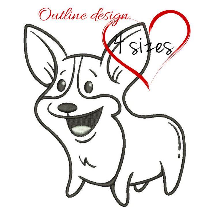 Welshi corgi embroidery machine design dog outline animal digital instant download pattern hoop file t-shirt puppy pes by SvgEmbroideryDesign on Etsy
