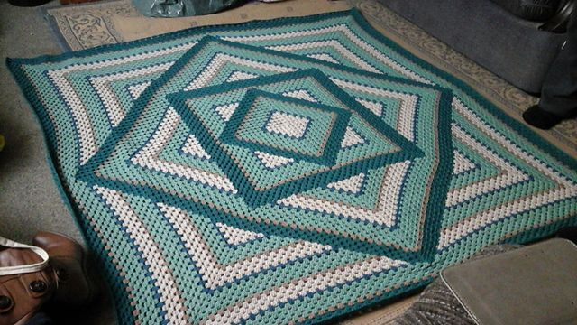 ravelry  project gallery for squared diamond granny throw