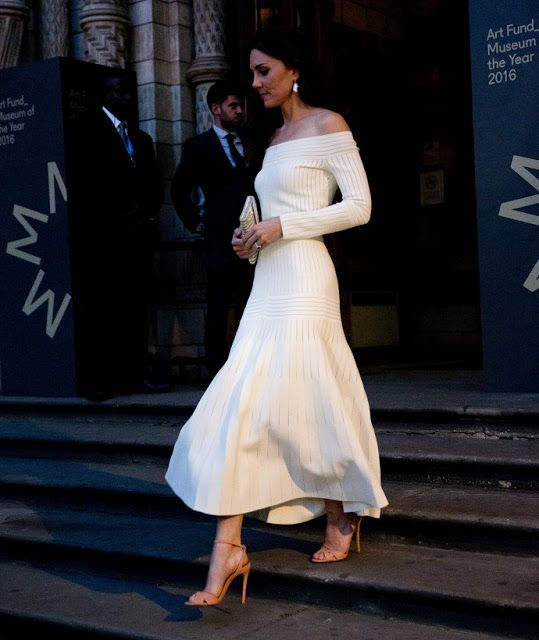 On July 6, 2016, Catherine, Duchess of Cambridge presents the Art Fund Museum award at a dinner at the Natural History Museum in London. The Art Fund Museum of the Year prize is awarded annually to one outstanding museum which has shown exceptional imagination, innovation and achievement in the preceding year. The Duches wears Barbara Casasola off-the shoulder knit dress. ($2,385 )
