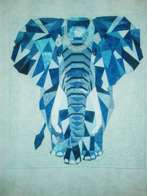 my Elephant wall hanging  paper pieced