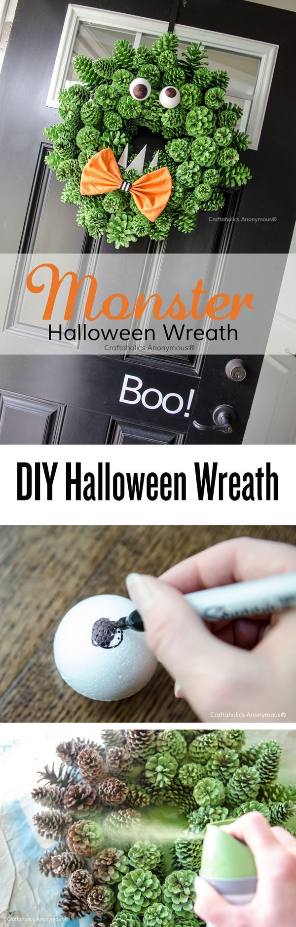 Pinecone Monster Wreath tutorial. One of the cleverest Halloween wreaths I've ever seen! Great way to reuse an old Christmas pinecone wreath. #halloween #ideas #wreath