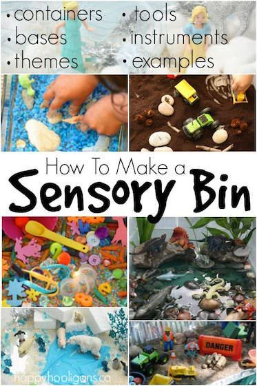 Sensory Bins 101: Containers to use, base ingredients, suggested tools, toys, and themes, and photo examples of some of our most popular bins to date.Everything you need to know to make awesome Sensory Bins that will engage, educate and entertain your child: containers, themes, base ingredients, tools, and loads of photo examples of the best bins in our daycare. - Happy Hooligans