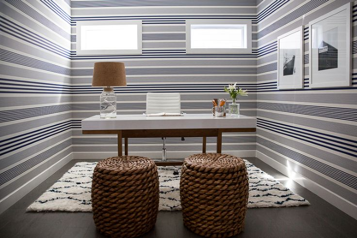 Nautical Mainstream Interior Design by Calgary Interior Design Firm, Natalie Fuglestveit Interior Design.  Photo of navy and white stripe wallpaper railroad installation.