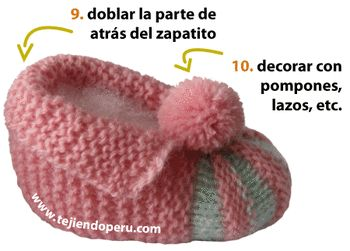 Cómo tejer zapatitos acordeón (con 2 colores en la punta) en dos aguja para bebés