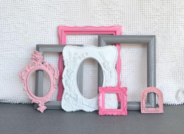 Pinks, Grey White Smaller Frames Set of 7 - Upcycled Painted Ornate Frames Girls or Nursery bedroom decor. $42.00, via Etsy.