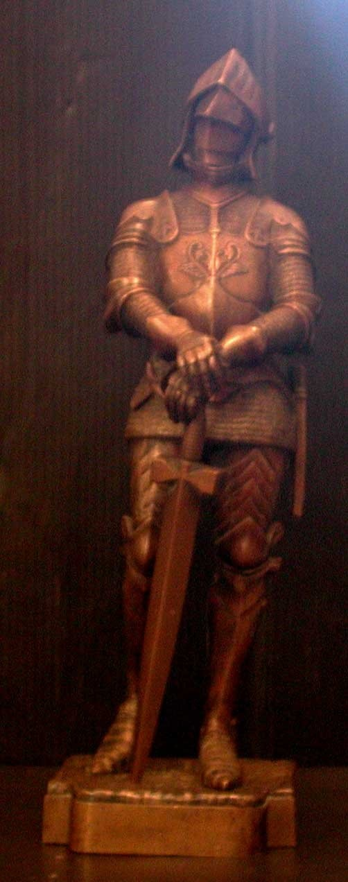 SIGNED ANTIQUE EXQUISITE BRONZE KNIGHT STATUE 14568