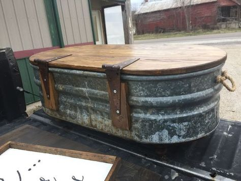 livestock water trough turned coffee table, home maintenance repairs, painted furniture, ponds water features