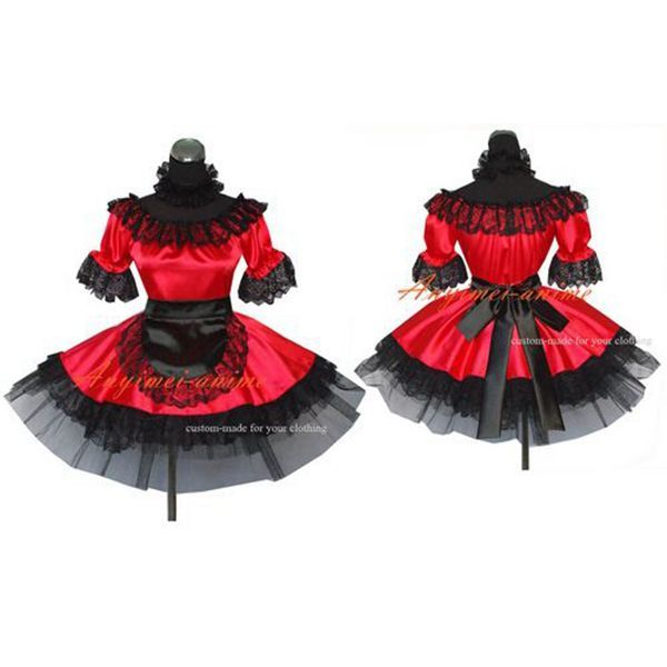 Sexy Sissy Maid Satin Red Dress Uniform Cosplay Costume Tailor-Made[G467] - Sissy Maid Uniform