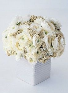 White ranunculus wedding bouquets