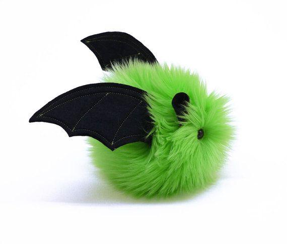Stuffed Bat Stuffed Animal Cute Plush Toy Kawaii Plushie Beetle the Bat Lime Green Snuggly Cuddly Faux Fur Halloween Toy Small 4x5 Inches