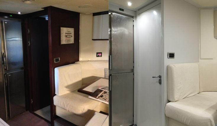 The med season is a few weeks away and @WildGroup are working on a number of projects preparing yachts for their upcoming season. There is still time to renew your yachts finish with our wonderful #Färben #vinyl finishes. Contact us by clicking on our website below. www.wildgroupinternational.com Image - before & after of interior galley - 36m #HappyHour.