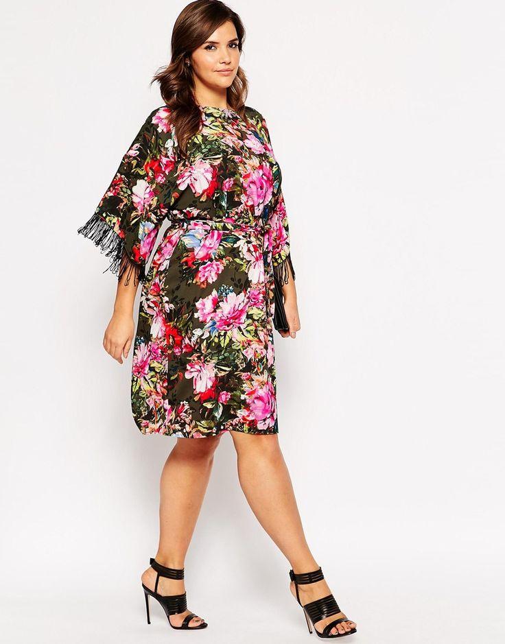 Immagine 4 di ASOS CURVE - Vestito stile kimono con frange e fantasia floreale