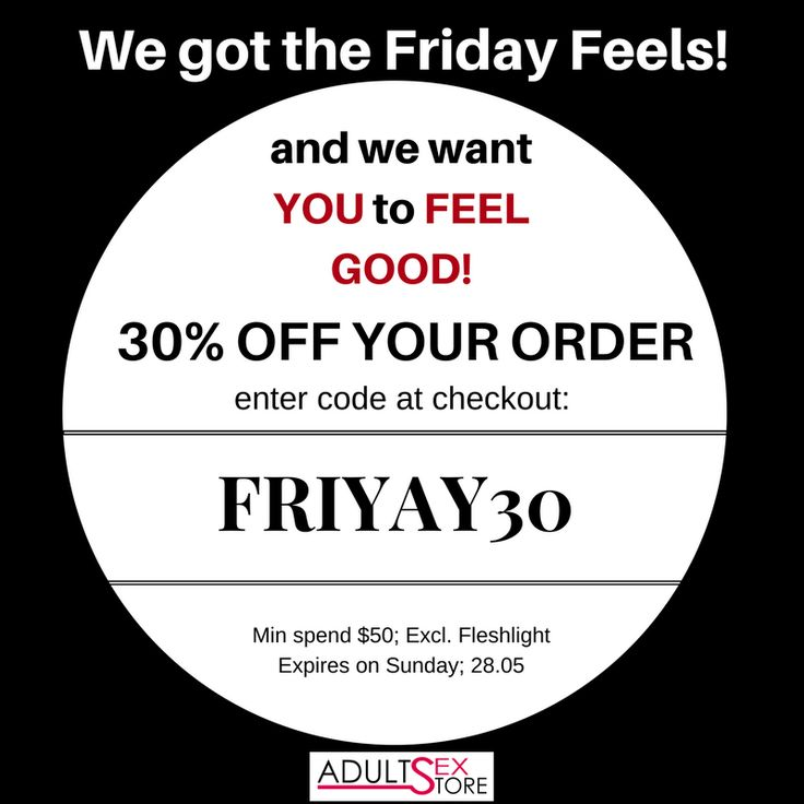 YES! It's Friday and we have the feels.  Feel Good with a huge 30% discount on full priced items with FRIYAY30!  #cheapsextoys #dailydeals #discountcodes #australia