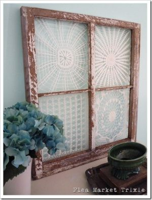doilies on an old window by Flea Market Trixie by rosanna