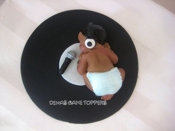 Old School Record Music Baby Shower Cake by DinasCakeToppers, $25.00