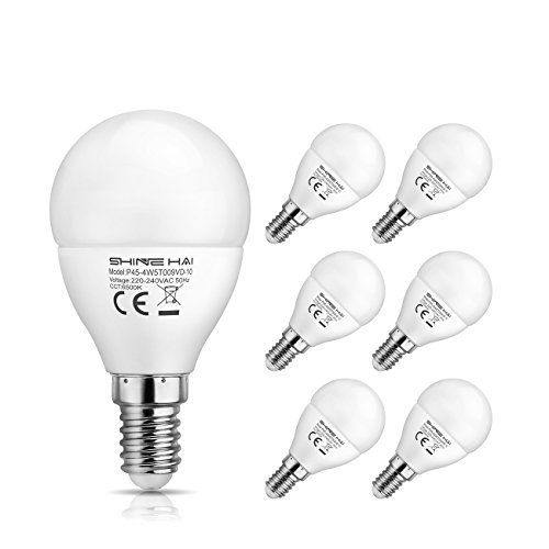 SHINE HAI Ampoule LED E14 P45 4.5W Equivalent à Ampoule Halogène/ Incandescente 40W, Blanc Froid 6500K, 350LM, Lampe LED Encastrable…