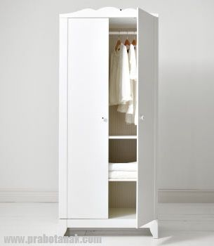 Lemari Pakaian Anak Mini 2 Pintu Putih Duco
