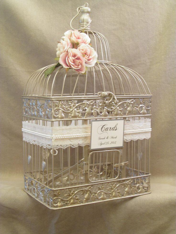 Wedding Card Box / Champagne Birdcage / Pearls / Bird Cage Wedding Card Holder / Elegant / Gold. $68.00, via Etsy.