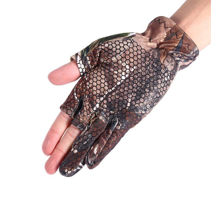 1 Pair Unisex Waterproof Elastic Fly Fishing Gloves Fingerless Anti slip Hunting Camo Gel Fishing Glove Camouflage Comfortable