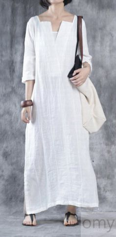 WHITE LINEN DRESSES OVERSIZE MAXI DRESS LINEN CAFTANS