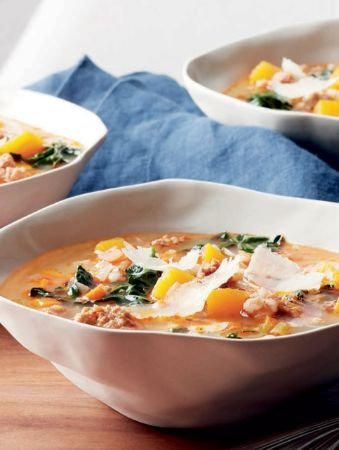 Spicy sausage, farro and kale soup