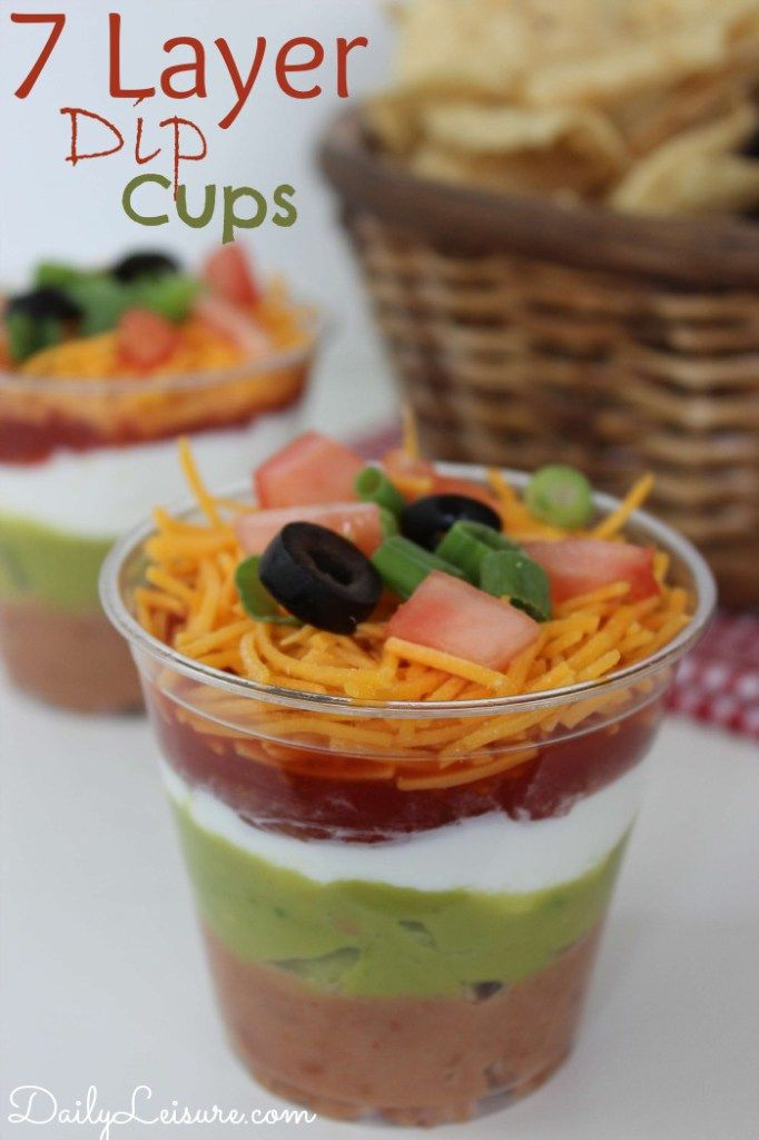 7 Layer Dip Cups. A genius way for everyone to get their own dip at a party.