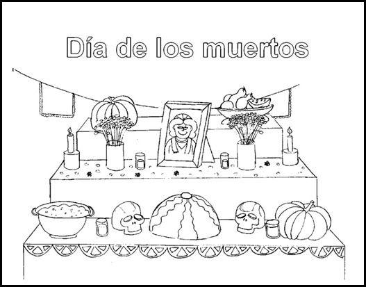 Altar de Dia de Muertos para imprimir y colorear
