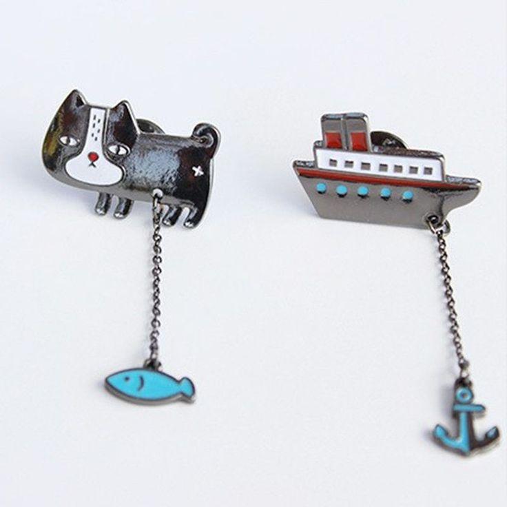 Mädchen Katze Fisch Schiff Anker Kragen Pins Abzeichen Corsage Cartoon Brosche | eBay