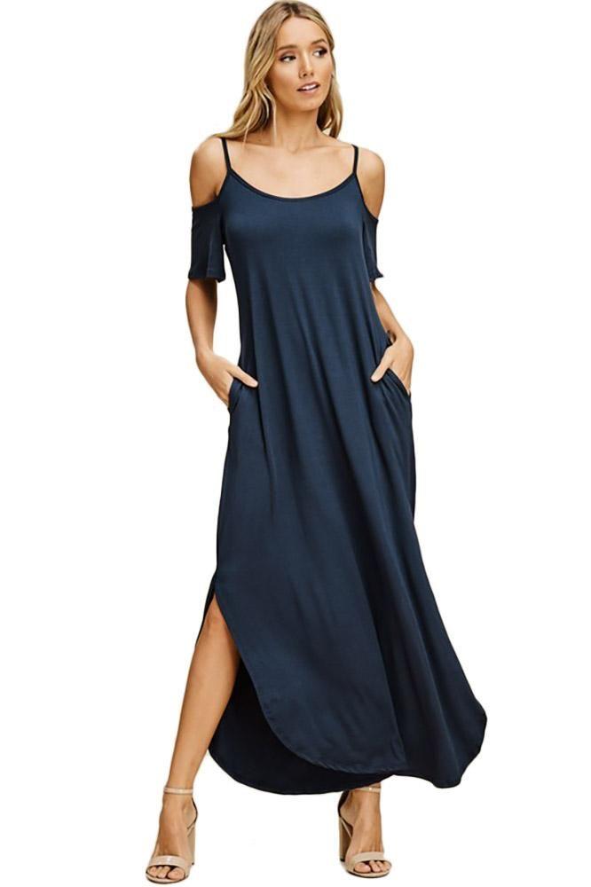 ee73f969684e0 Women Cold Shoulder Slit Maxi Dress