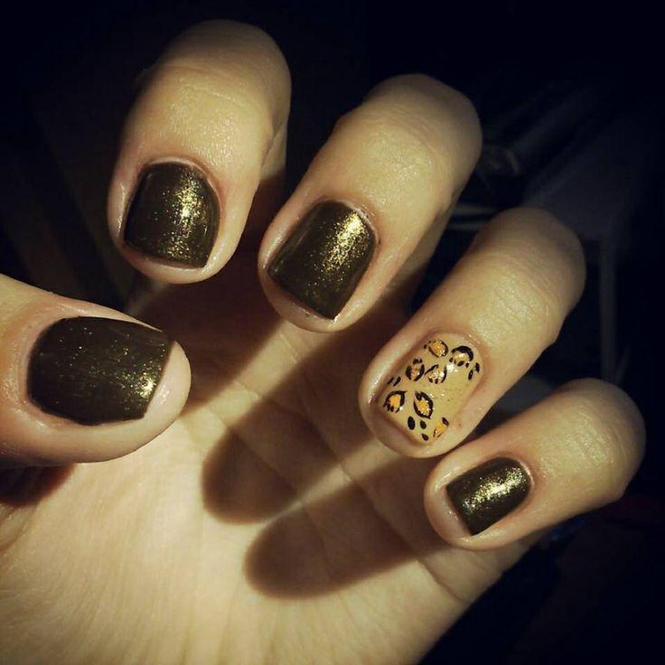 Leopard & shiny brown nails by Kati Hajnal ✨ Leopárd & csillogós barna körmök / Hajnak Kati ✨