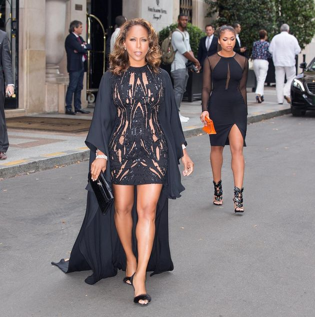 Marjorie Harvey stole the Elie Saab Haute Couture show in, of course Elie Saab paired with Giuseppe Zanotti slides
