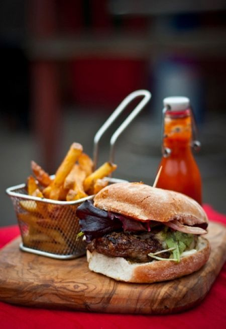 Gastropub Signature Beef and Stout Burger with Homemade Tomato Ketchup (grams)
