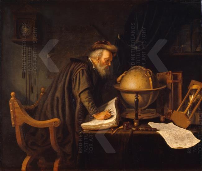 Atelier van Gerard Dou: Oude man met een globe, boeken en een zandloper in een in studeervetrek. Tussen 1628 - 1674. Staatliches Museum Schwerin, Schwerin. Voorheen toegeschreven aan Gerard Dou.