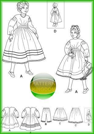 Simplicity 4737 Childs Victorian/Civil War Era Dress+Doll Patterns