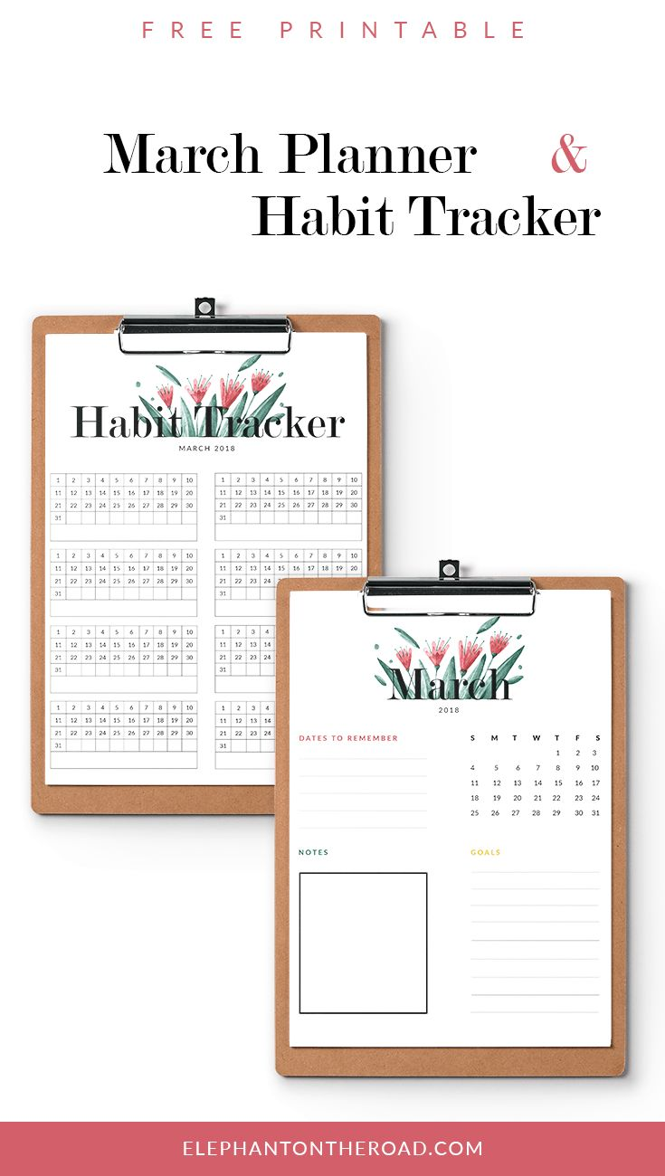 March Goals. Free Printable. Free Pretty Planner And Habit Tracker. Pretty Calendar. Elephant on the Road.