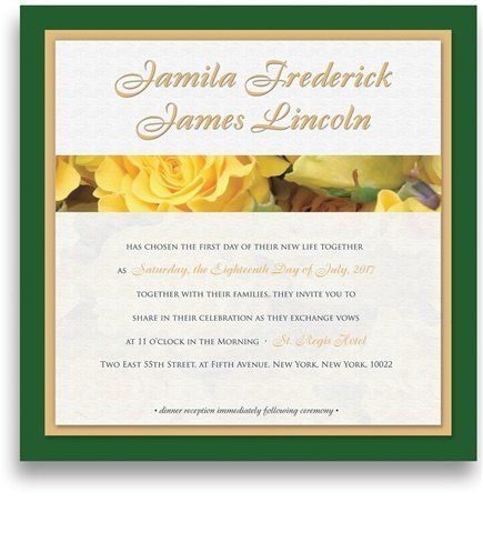215 Square Wedding Invitations - Yellow Roses Glee by WeddingPaperMasters.com. $559.00. Now you can have it all! We have created, at incredible prices & outstanding quality, more than 300 gorgeous collections consisting of over 6000 beautiful pieces that are perfectly coordinated together to capture your vision without compromise. No more mixing and matching or having to compromise your look. We can provide you with one piece or an entire collection in a one stop shoppin...