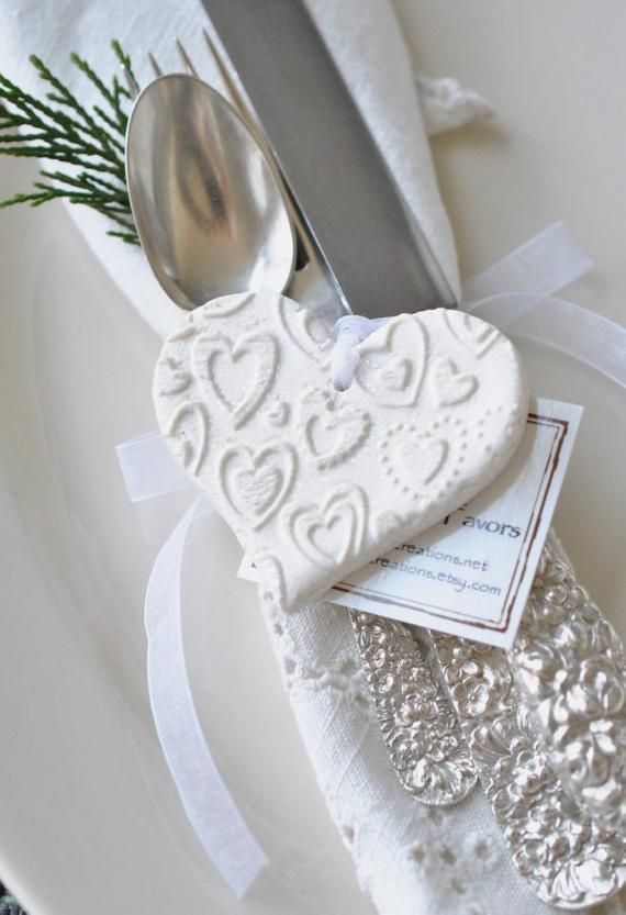 Fun Sparkle Heart Wedding or Baptism Favors Set of 10 Salt Dough Imprinted Plain or Personalized Heart Ornaments