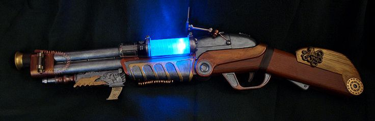 Here is my Steampunk mod of the Buzz Bee Double Shot, Nerf style dart gun. I used metallic paint, copper wire, gears, contact paper,radio tube,a small light I purchased at Joanne's Fabrics…