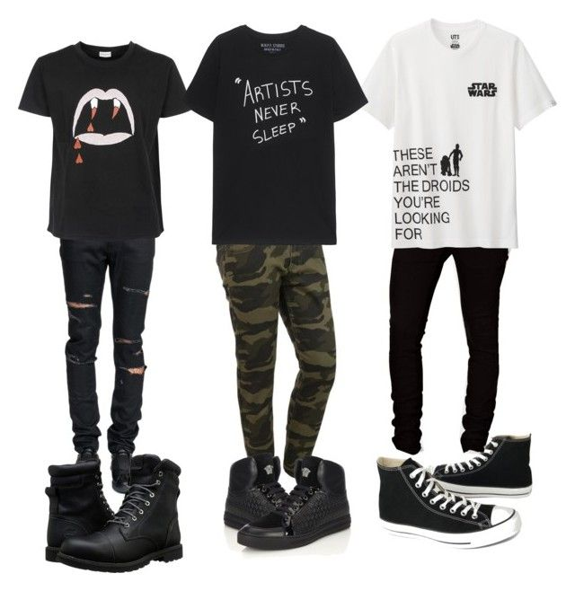 """""""Random"""" by skylarsong ❤ liked on Polyvore featuring Dr. Denim, Yves Saint Laurent, Uniqlo, Timberland, Versace, Converse, men's fashion and menswear"""